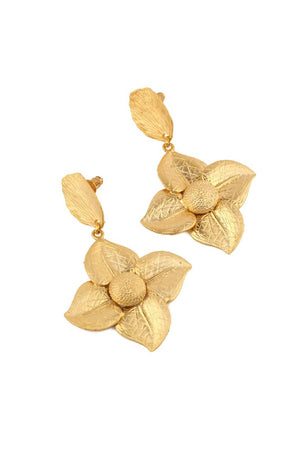 Dangle Drop Earrings with Stud in Matt Gold Plating