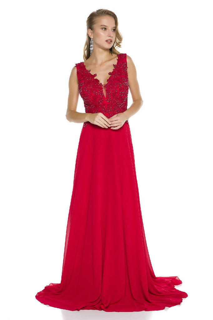 Embroidered Chiffon Maxi Dress