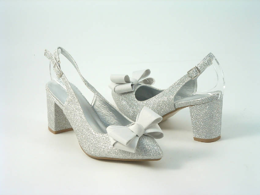 Glitter Bowed Sling Back Court Shoe with Block Heel