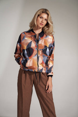 Geometrical pattern bomber jacket