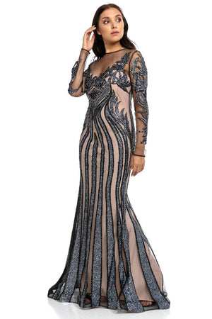 Transparent Detail and Silvery Maxi Dress