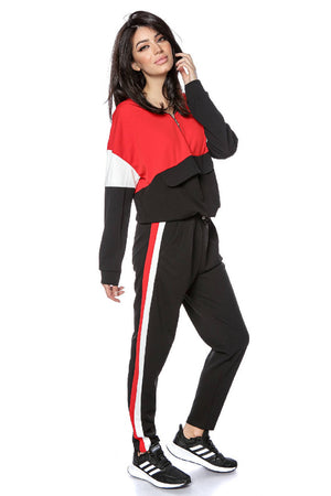 Lightweight 2 piece TrackSuit - Black-Red - AIMELIA - TR359