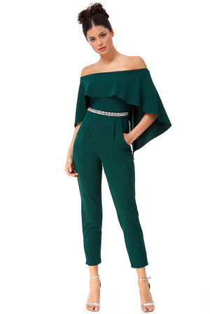 CAPE JUMPSUIT WITH DIAMANTE BELT