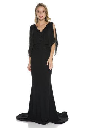 V-Neck Waist Embroidered Maxi Dress
