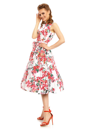 Vintage Inspired 1940's Midi Summer Dress in Floral Print