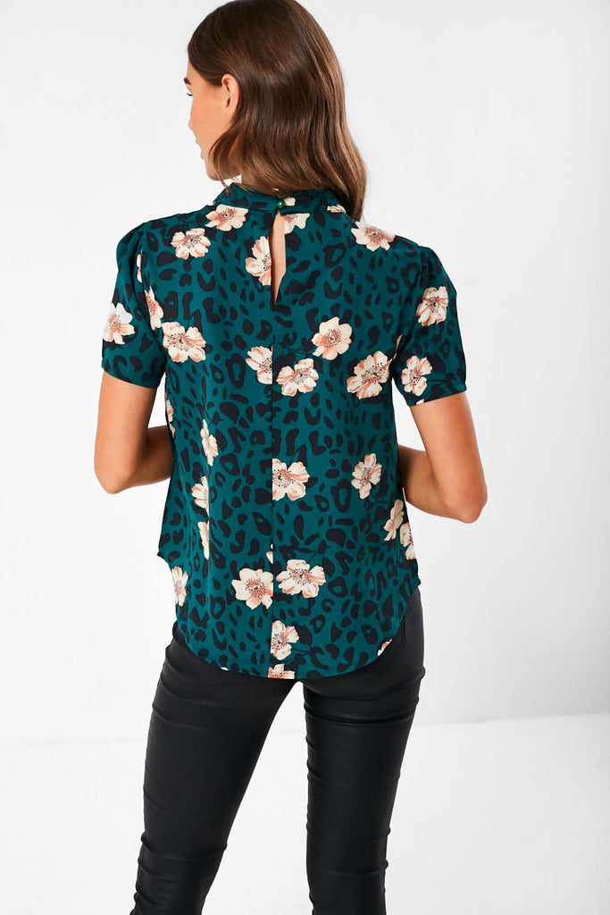 Floral-Print Top in Green