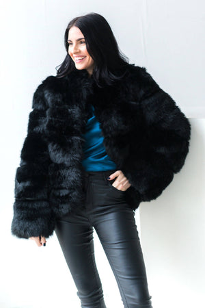 Black Faux Fur Coat With High Collar