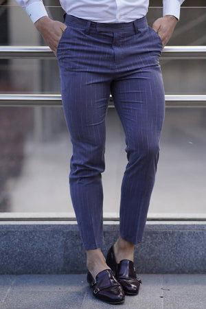 Slim Stretch Elastic Waistband Blue Trousers