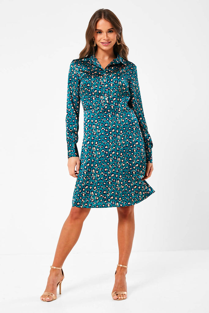 Pixie Daisy Animal Print Shirt Dress