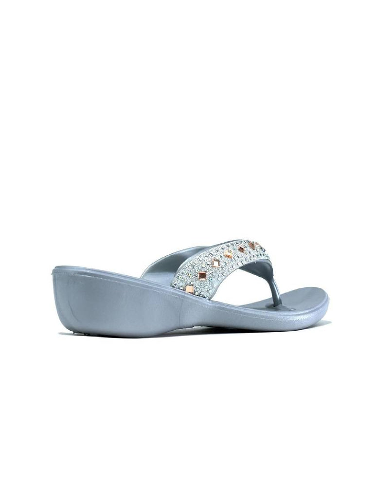 LLE-5495 MIRROR LOW WEDGE SILVER FLIP FLOP
