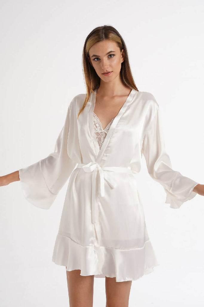 Women White Satin Bride Dressing Gown & Robe with Frill