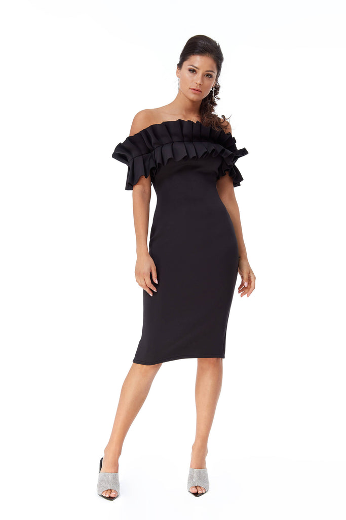 MULTI FRILL BONDED SCUBA MIDI DRESS