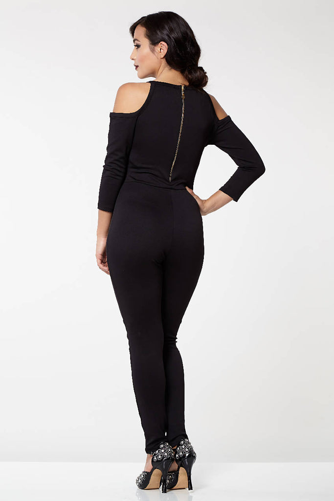 Emily Bohemian Bodycon Halter Neck Cold Shoulder Jumpsuit in Black