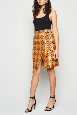 Wrap Midi Winter Brocade Skirt