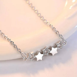 Silver Stars Delicate Necklace with Cubic Zirconia Stones.