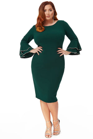 PLUS SIZE DOUBLE FRILL SLEEVE MIDI DRESS WITH DIAMANTE TRIM