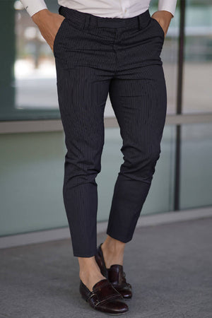 Black Striped Elastic Waistband Trousers