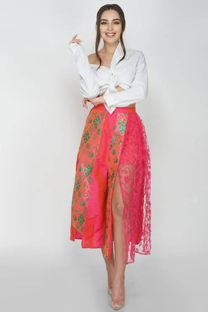 Layered Cut Panel Midi Skirt From Nesavaali London