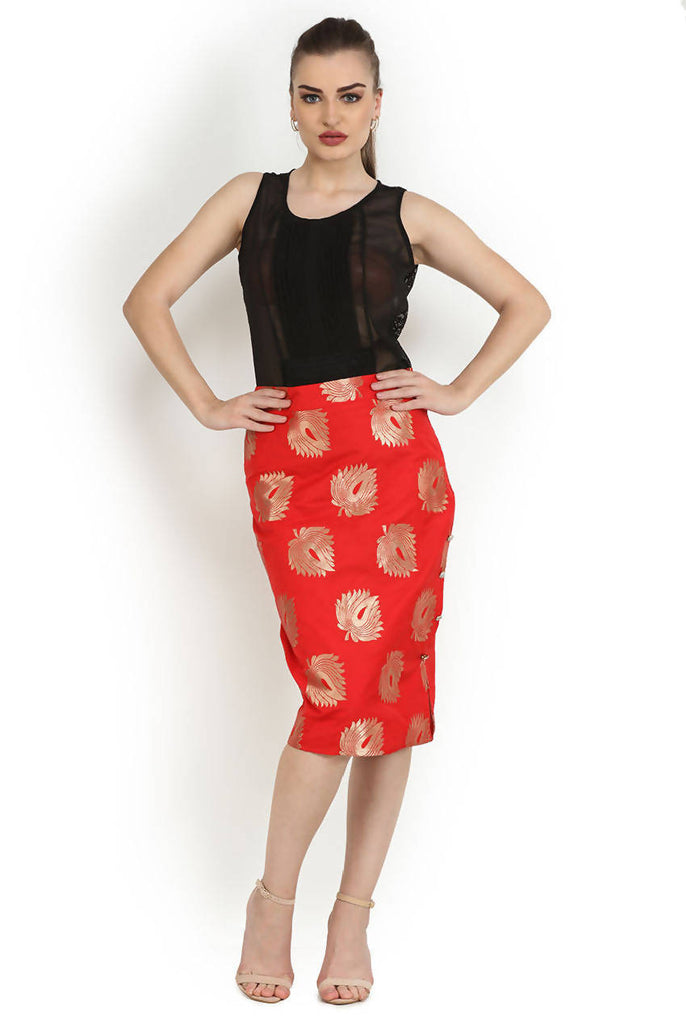 Red Occasion Sheath Pencil Fit Skirt
