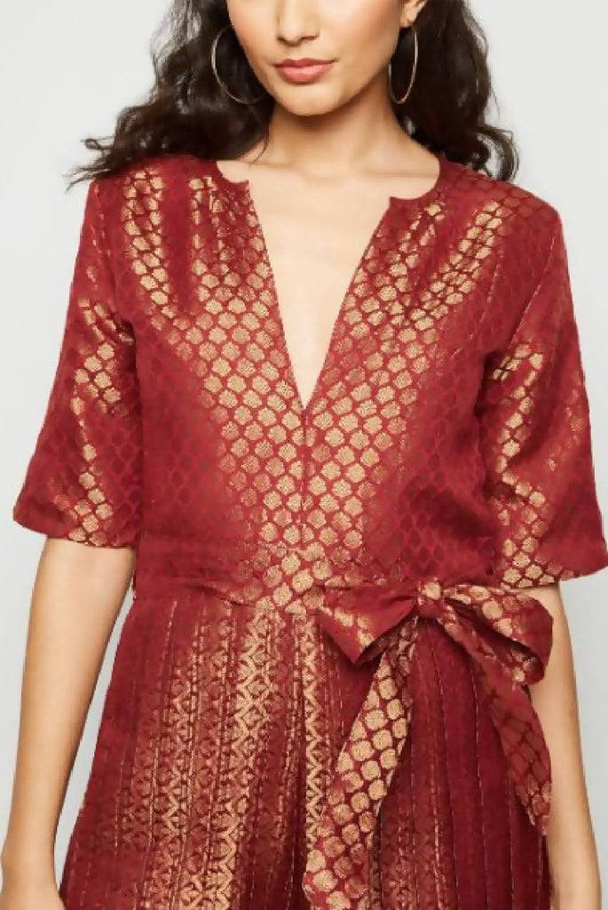 V Neck Pleated Brocade Jumpsuit