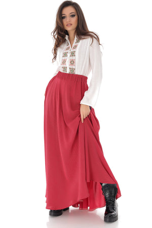 Red and white spotted maxi skirt, Aimelia - FR465