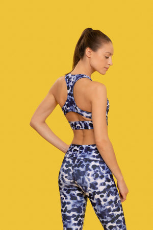 LEOPARD PRINT SPORTS BRA made with Recycled Plastic