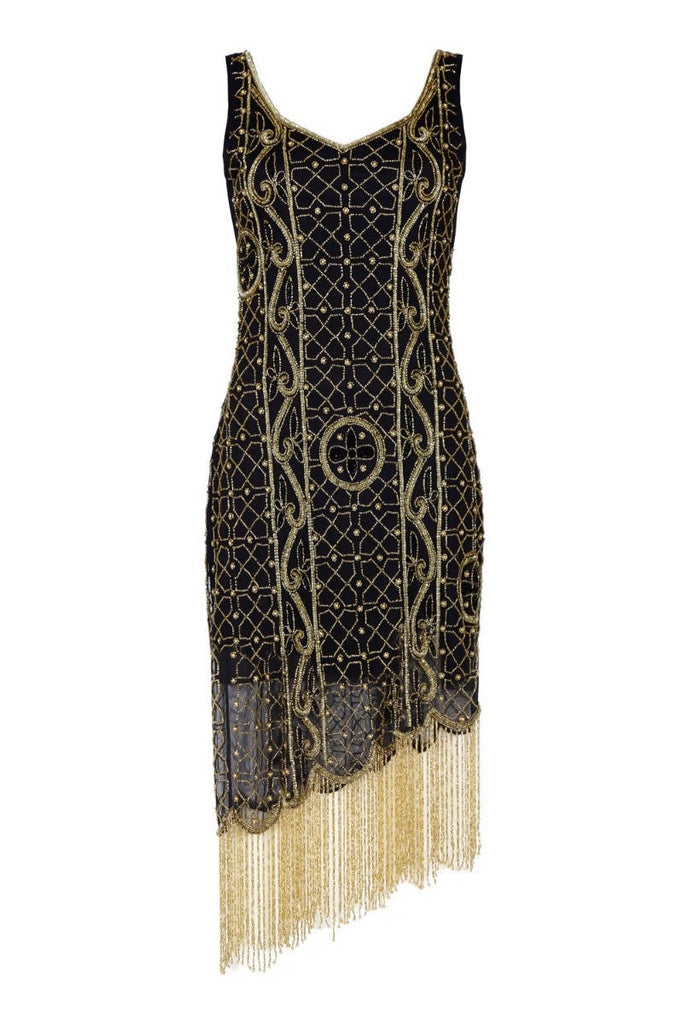 Isabella Vintage Inspired Fringe Flapper Dress - Hand Embellished