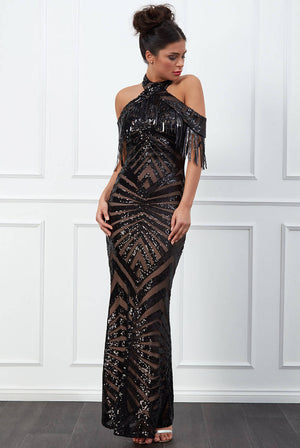 FRINGE COLLAR SEQUIN MAXI DRESS