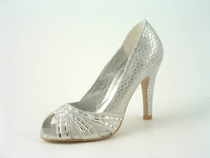 Diamante Mesh Reptile Heel Peep Toe Court Shoe
