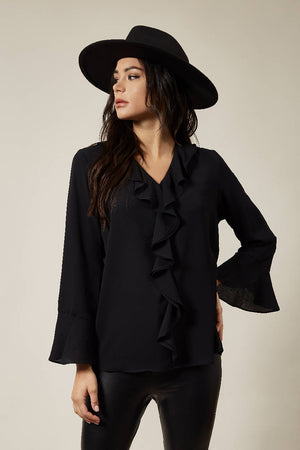 Oversized Top with Frilled Front in Black