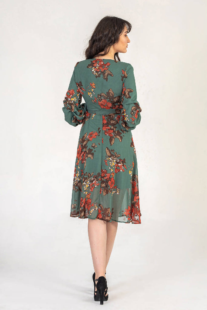 Khaki Floral Print Midi Dress With Ruched Sleeves