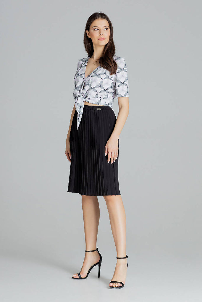 Pleated Midi Skirt by Lenitif