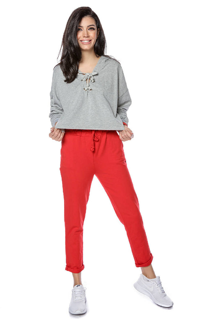 Casual cotton jogging bottoms - RED - AIMELIA - TR365
