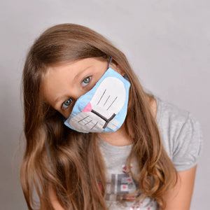 Kids Bunny Face Mask with Filter Pockets - Machine Washable,100% Cotton