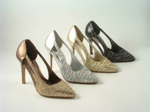 Glamour n Glitz Metallic Point Toe Open Side Court Shoes