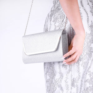 Denise Silver Glitter Mesh Clutch Bag