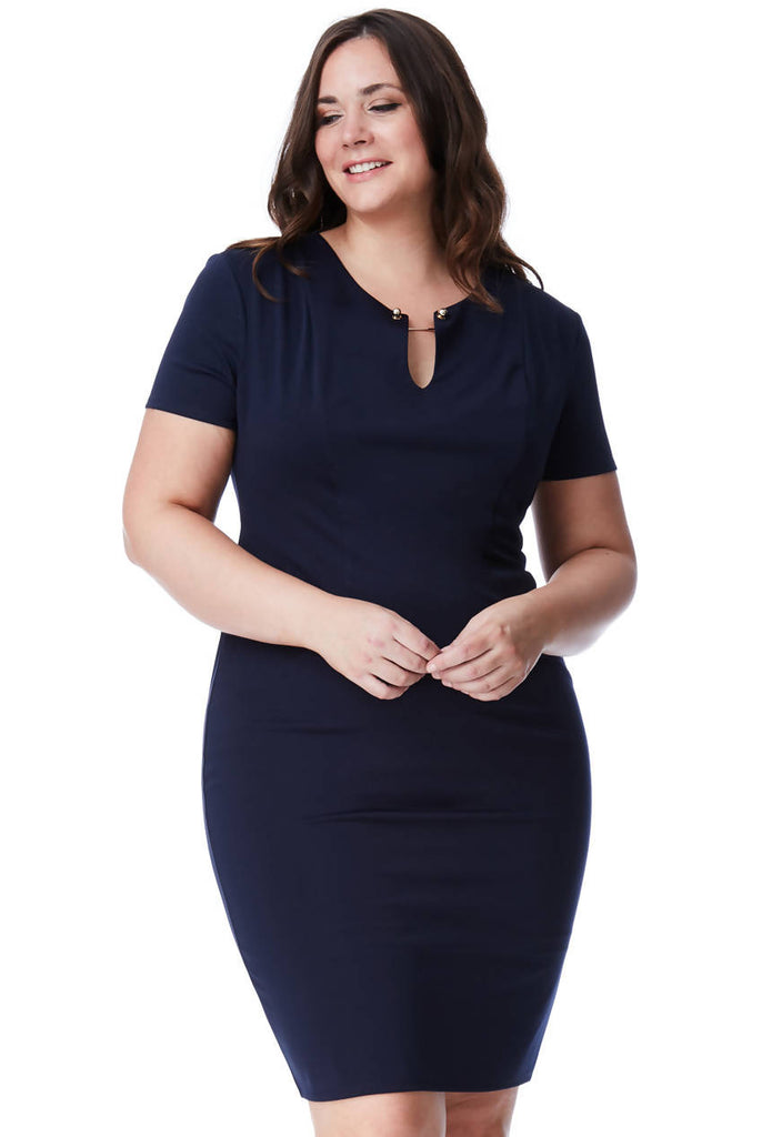 PLUS SIZE FITTED MIDI DRESS WITH METAL BAR DETAIL