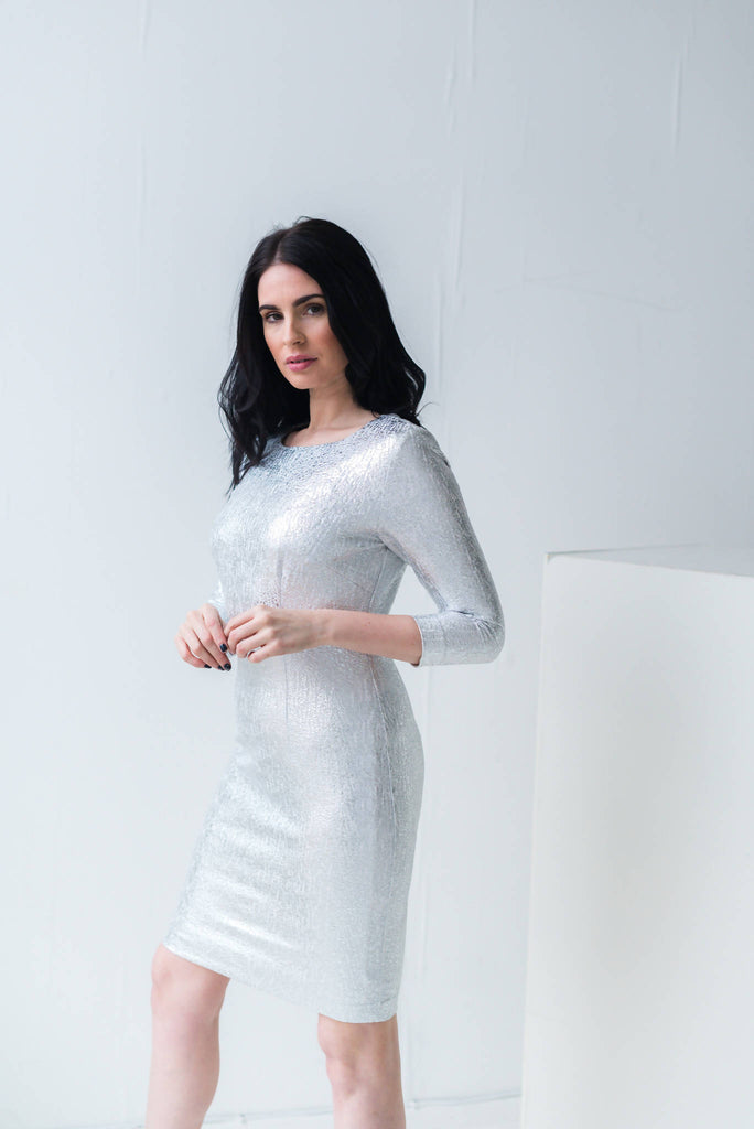 Silver Metallic Fitted Dress With 3/4 Length Sleeves