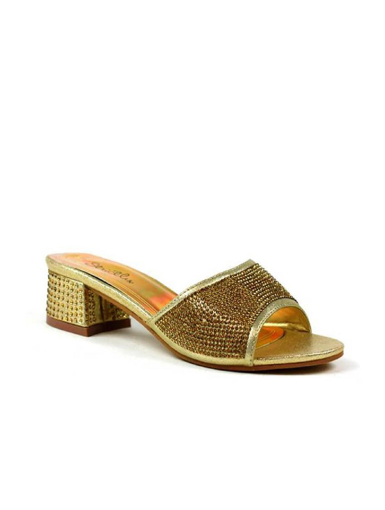 LSA-7886 J7778 STONE SLIP ON SANDAL - GOLD