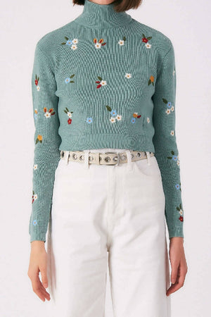 Turtle neck jumper green