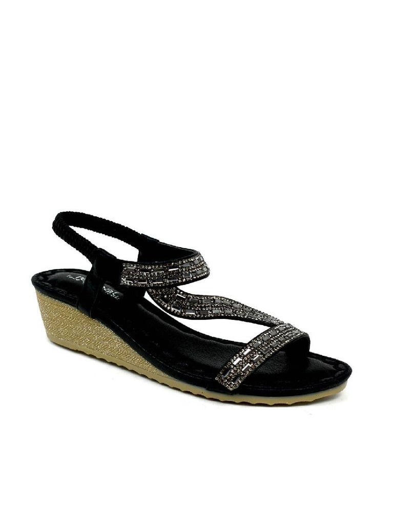 LSA-8026 3788-19 BLACK DIAMANTE LOW WEDGE HEEL SANDAL