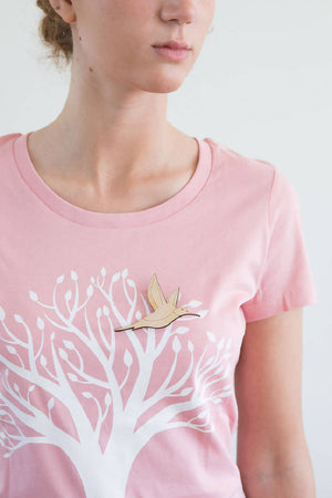 Bird Broach Short Sleeved T-shirt