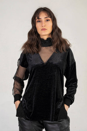 Chiffon High Neck Jumper In Black