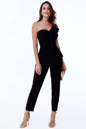 ONE SHOULDER FRILL JUMPSUIT