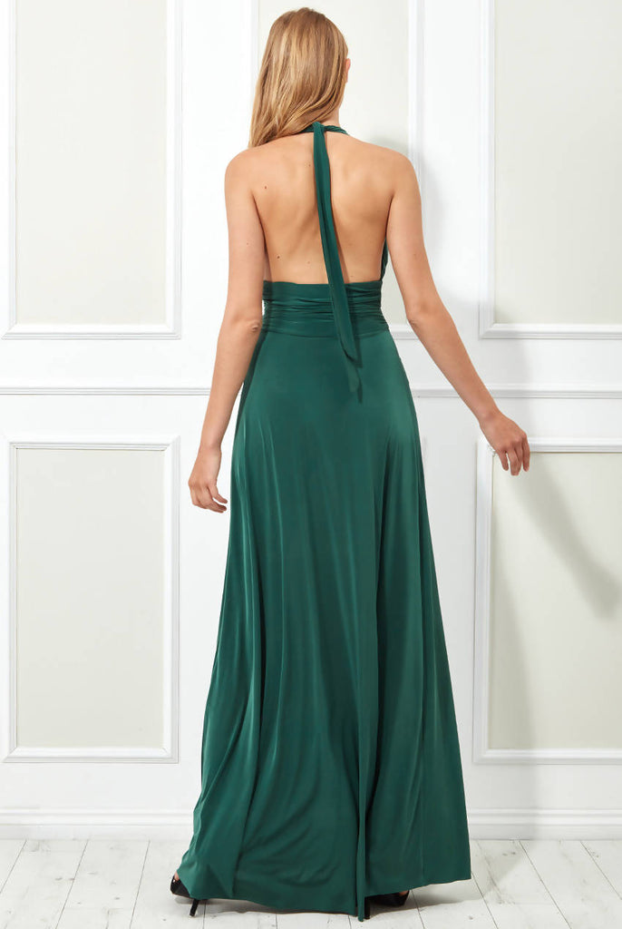 PLUNGE NECKLINE MAXI DRESS WITH OPEN BACK