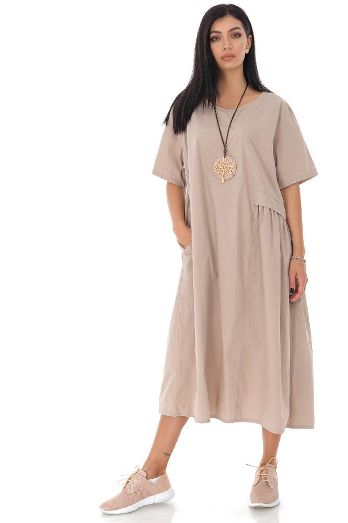 Oversized cotton tunic with side pockets - Aimelia - DR4184