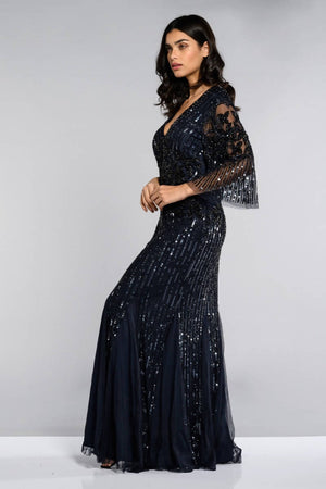Norma Maxi three-quarter length Sleeve Maxi Dress - Plus Size