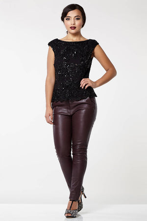Dahlia Embellished Cowl Back Neck Top in Black