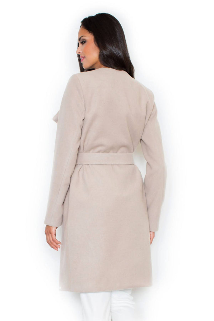 Belted Wide Collar Coat M408