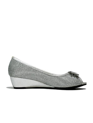 LSH-6097 3916 OPEN TOE DIAMANTE BOW SHOE